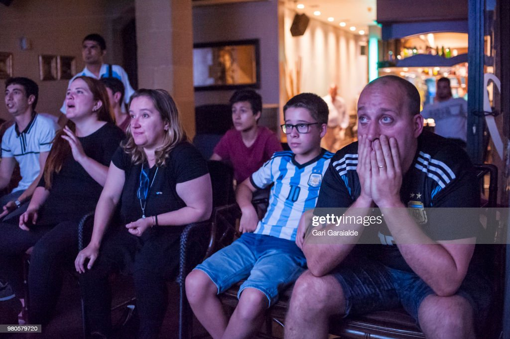 Argentinian Fans Watch The Worldcup in Irun : News Photo