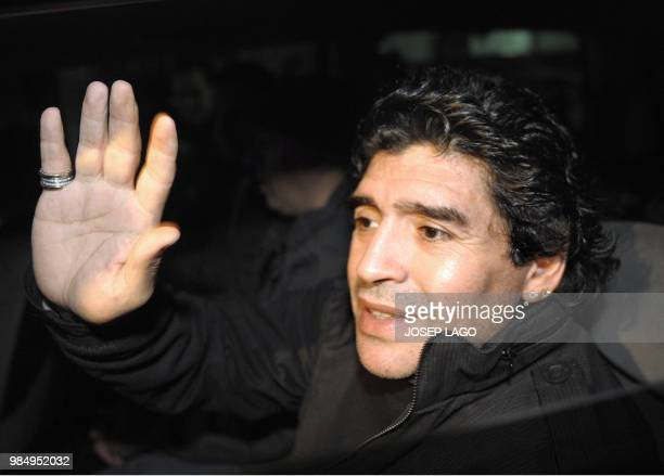 Argentinian football legend Diego Maradona confirmed coach of Argentina's football team leaves an hotel in Barcelona after a meeting with Barcelona's...