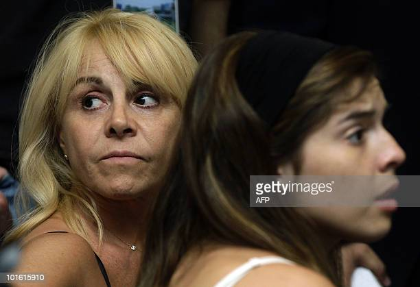 Argentinian football legend Diego Maradona's ex wife Claudia Villafane and their daughter Dalma Nerea attend the ceremony in which he was officially...