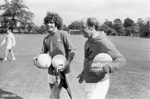 Argentinian football player Alberto Tarantini of Birmingham City pictured with Blues boss Jim Smith during a training session ahead of signing for...
