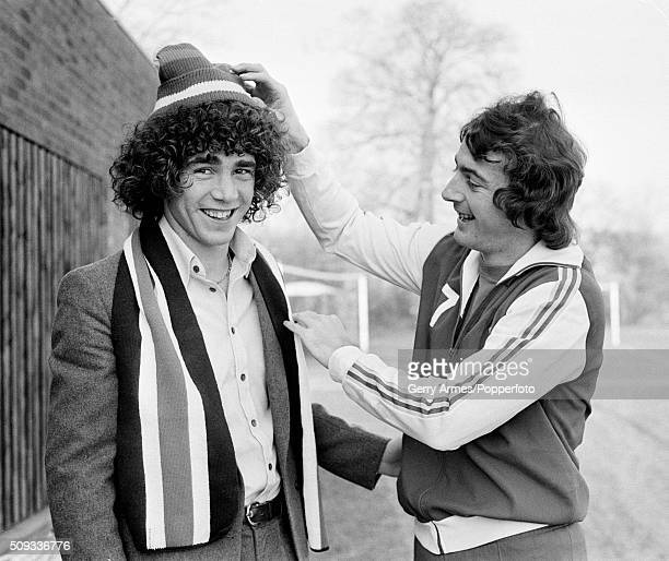 Argentinian footballer Alberto Tarantini is welcomed to Birmingham City by his new teammate the England striker Trevor Francis 29th November 1978