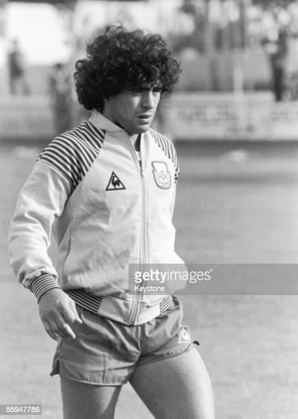Argentinian footballer Diego Maradona during a training session at Villajoyosa Stadium in Alicante 1982