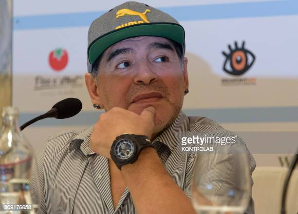 Argentinian former football player Diego Armando Maradona attends a press conference the day prior a ceremony to receive the honorary citizenship of...