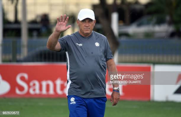 Argentinian former footballer and coach Nery Pumpido takes part in a programme called 'Evolution' by Conmebol and FIFA experts aimed at developing...
