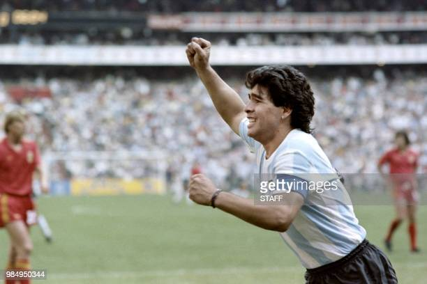 Argentinian forward Diego Maradona jubilates after scoring a goal, during the World Cup semi final soccer match between Argentina and Belgium on June...