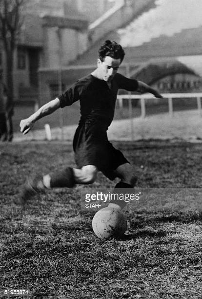 Argentinian forward Guillermo Stabile gets ready to kick the ball during a match in December 1933 Guillermo Stabile was the leading goal scorer of...