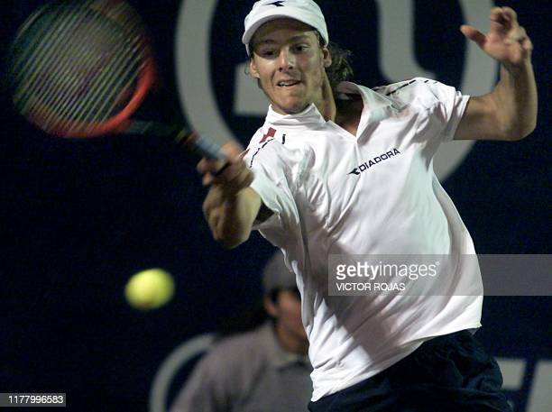 Argentinian Gaston Gaudio returns the ball against Chilean Nicolas Massu during the first match of the Open Tournament ATP Vina del Mar Chile 11...