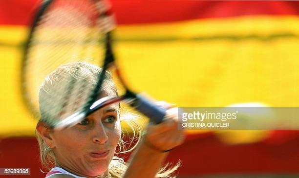 Argentinian Gisela Dulko returns the ball to Spanish Marta Marrero during the third match quarter finals of the Fed Cup Spain against Argentina at...