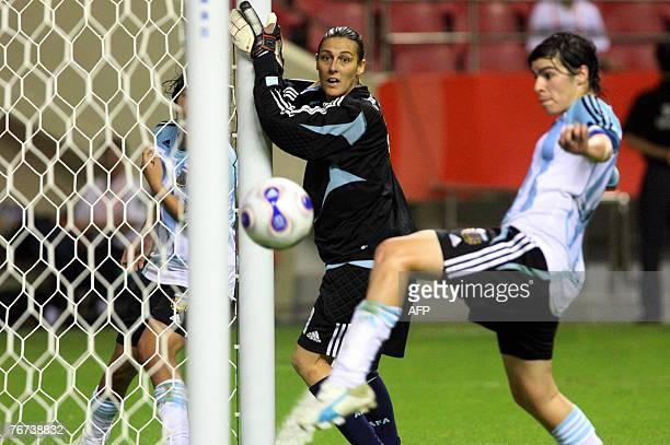 Argentinian goalie Romina Ferro watches with teammate Gabriela Chavez as a shot from the Japanese team goes wide during their 2007 FIFA Women's World...