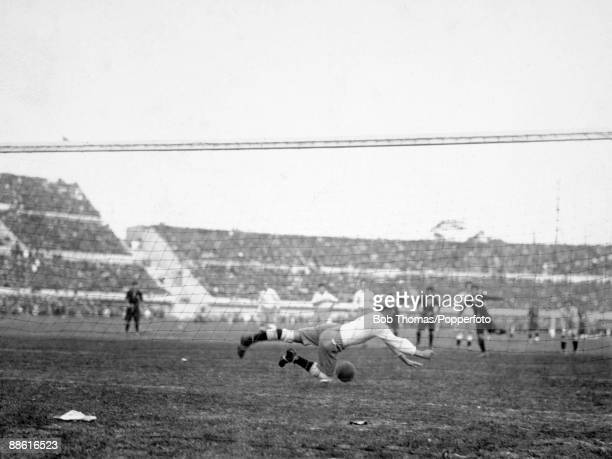 Argentinian goalkeeper Angel Bossio is beaten by a penalty kick taken by Mexico's Hilario Lopez during the FIFA World Cup match at the Estadio...