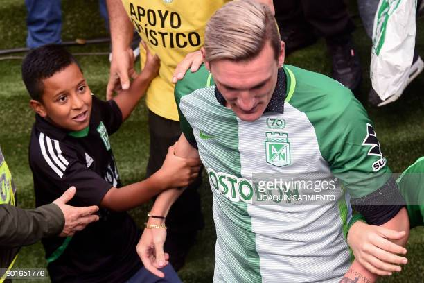 Argentinian goalkeeper Franco Armani is pictured during his farewell from Colombia's Atletico Nacional at the Atanasio Girardot Stadium in Medellin...