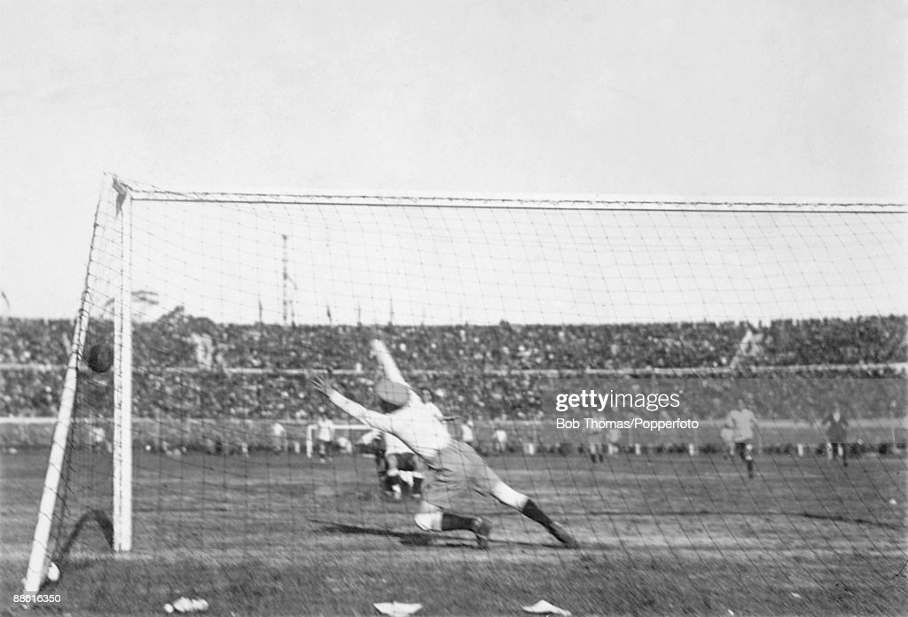 Argentinian goalkeeper Juan Botasso at full stretch during the first half as Hector Castro's shot goes narrowly wide of his goal during the FIFA World Cup Final between Uruguay and Argentina at the Estadio Centenario in Montevideo, 30th July 1930. Uruguay won 4-2.