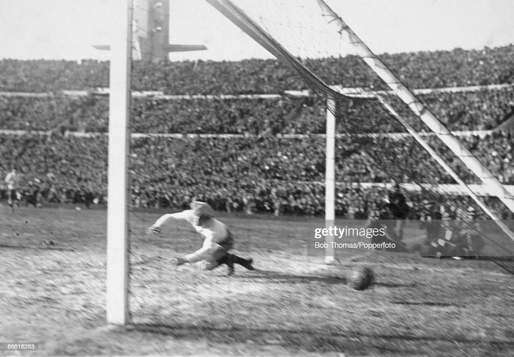 Argentinian goalkeeper Juan Botasso is beaten by Pedro Cea's (not in picture) shot for Uruguay's 2nd goal during the FIFA World Cup Final between Uruguay and Argentina at the Estadio Centenario in Montevideo, 30th July 1930. Uruguay won 4-2.