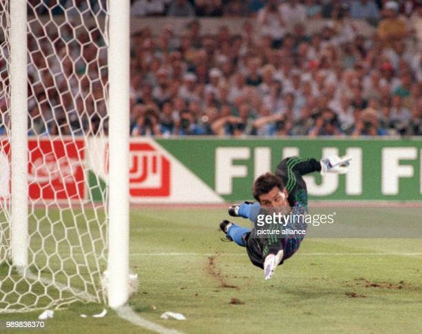 Argentinian goalkeeper Sergio Goycoechea dives in vain for the ball albeit choosing the correct corner of the goal In the 85th minute of the 1990...