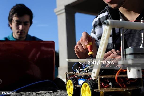 Argentinian industrial engeneering student of the National University of Cuyo Marcos Bruno and his collaborator Argentinian engeneering student of...