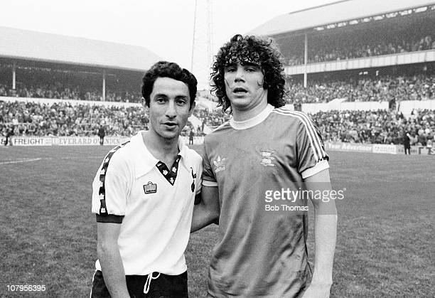 Argentinian Internationals Osvaldo Ardiles of Tottenham Hotspur and Alberto Tarantini of Birmingham City before the First Division match at White...