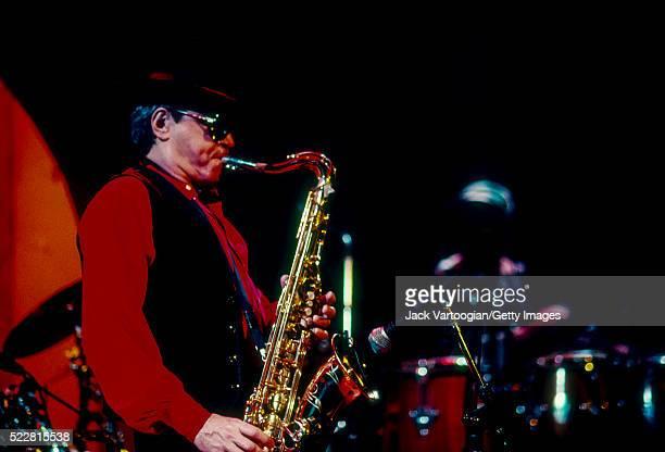 Argentinian Jazz musician Leandro 'Gato' Barbieri plays tenor saxophone as he performs at SOB's New York New York January 23 1992