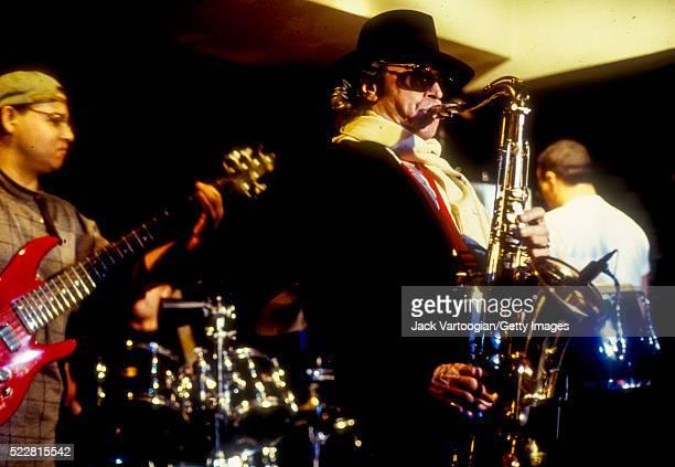 Argentinian Jazz musician Leandro 'Gato' Barbieri plays tenor saxophone as he performs at the Iridium Jazz Club New York New York January 10 1997