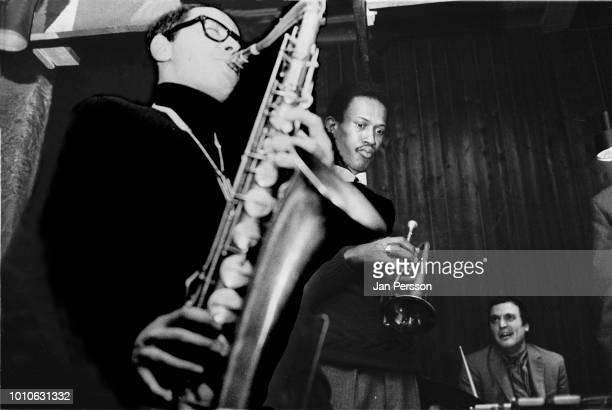 Argentinian jazz saxophonist Gato Barbieri American jazz trumpeter Don Cherry and italian jazz drummer Aldo Romano performing at Jazzhouse Montmartre...