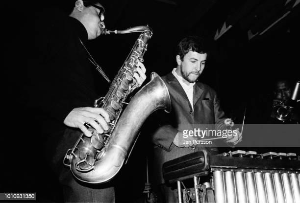 Argentinian jazz saxophonist Gato Barbieri and German vibraphone player Hans Berger performing at Jazzhouse Montmartre Copenhagen Denmark 1966