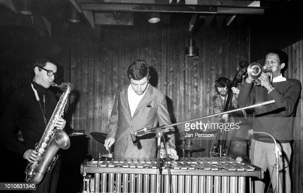 Argentinian jazz saxophonist Gato Barbieri German vibraphone player Karl Berger Danish jazz bassist Bo Stief and American jazz trumpeter performing...