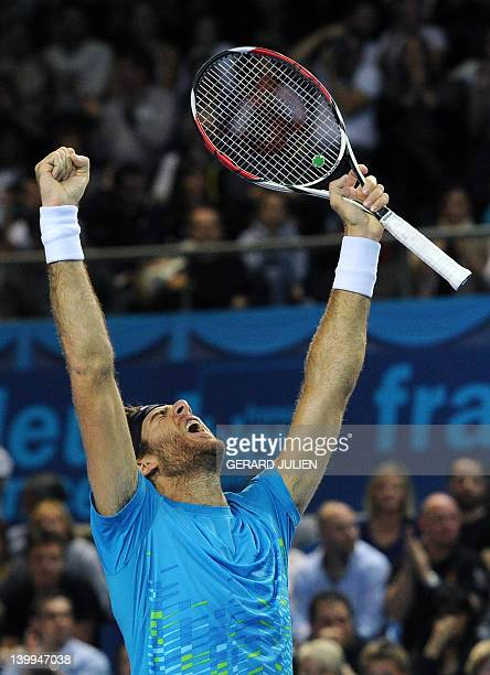 Argentinian Juan Martin Del Potro celebrates after winning against French Michael Llodra during the ATP Open 13 tennis tournament final match, on...