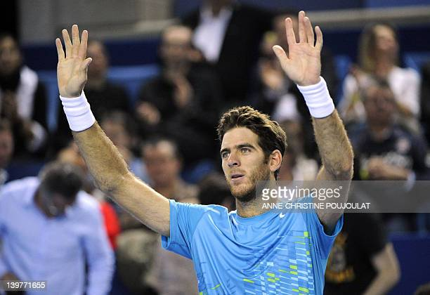 Argentinian Juan Martin Del Potro gestures after winning a match against French Richard Gasquet during the ATP Open 13 tennis tournament quarter...