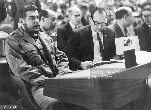 Argentinian leader and revolutionary CHE GUEVARA Minister of Industry representative of the Cuban delegation in a congress