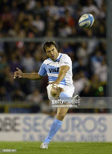 Argentinian Los Pumas' fly half Juan Martin Hernandez kicks to score a penalty shot against Australian Wallabies during the Rugby Chiampionship sixth...