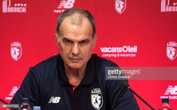 Argentinian Marcelo Bielsa the new coach for Lille OSC holds a press conference at the LOSC training center in CamphinenPevele near the city of Lille...
