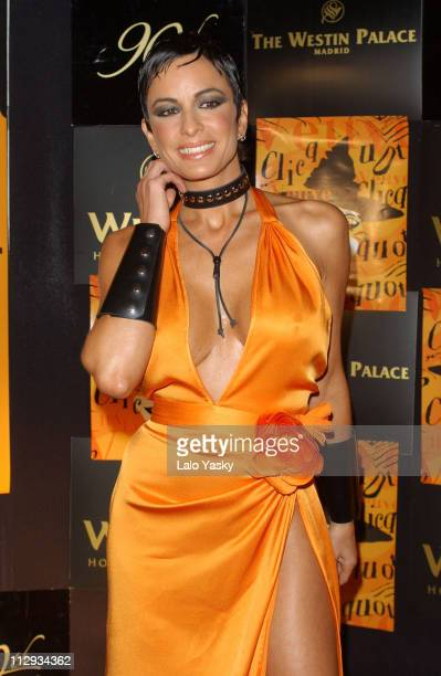 Argentinian model actress Daniela Cardone during Black and Orange Veuve Cliquot Champagne Halloween Party at Palace Hotel in Madrid Spain