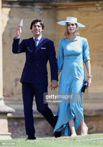 Argentinian model and photographer Delfina Blaquier and her husband Nacho Figueras arrive at the wedding of Prince Harry to Ms Meghan Markle at St...