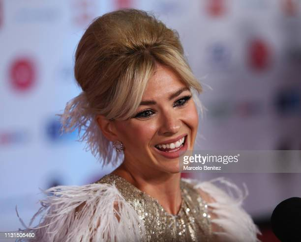 Argentinian model China Suarez smiles during the red carpet of 2019 Viña del Mar International Song Festival Gala on February 22 2019 in Vina del Mar...