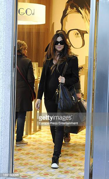 Argentinian model Romina Belluscio who is eight months pregnant is seen on December 21 2012 in Madrid Spain