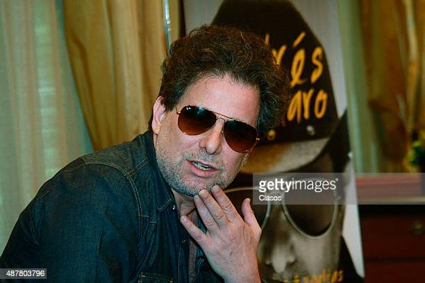 Argentinian musician Andres Calamaro talks to the media during the presentation of his new book 'Paracaidas y Vueltas' on September 10 2015 in Mexico...