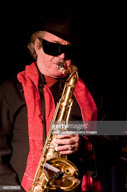 Argentinian musician Gato Barbieri plays tenor saxophonist as he leads his band during a performance at The Blue Note New York New York May 16 2008