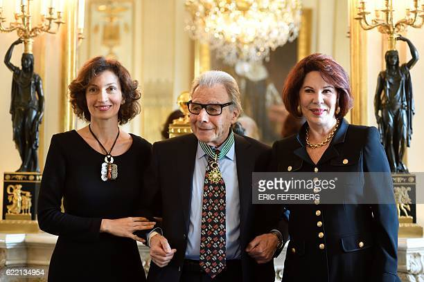 Argentinian musician Lalo Schifrin poses with his wife Donna and French Culture Minister Audrey Azoulay after he was awarded Commandeur in the Order...