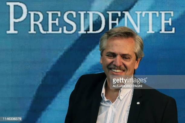Argentinian opposition presidential precandidate Alberto Fernandez gestures during the reopening of a sports venue under the name Parque Municipal...