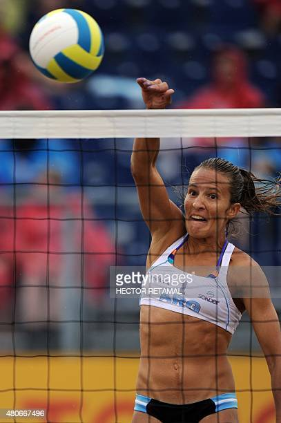 Argentinian player Ana Gallay bumps the ball during the Women's Beach Volleyball Preliminary against Trinidad and Tobago at the 2015 Pan American...