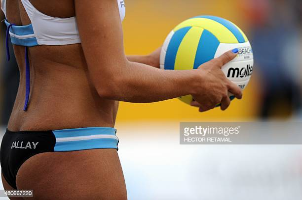 Argentinian player Ana Gallay during the Women's Beach Voleyball Preliminary against Trinidad and Tobago at the 2015 Pan American Games in Toronto...