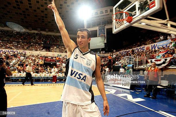 OUT *** Argentinian player Emanuel Ginobili celebrates after Argentina defeated Canada 8872 for the semifinal Olympic qualifying game between Canada...