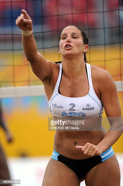 Argentinian player Georgina Klug celebrates a point during the Women's Beach Volleyball Preliminary against Trinidad and Tobago at the 2015 Pan...