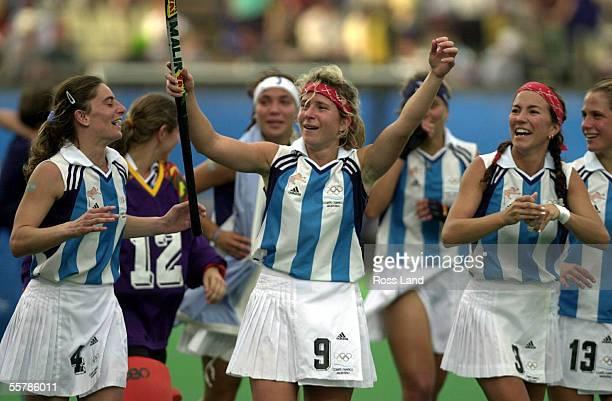 Argentinian players Paz Ferrari Paola Vukojicic , Vanina Oneto , Magadelina Aicega and Laura Maiztegui celebrate their 71 win over New Zealand in...