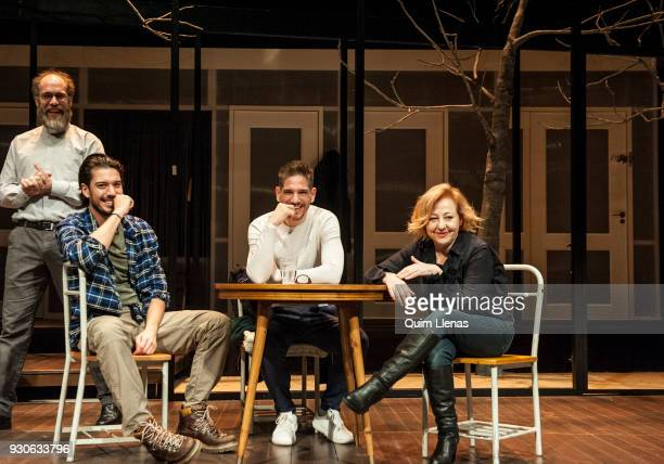 Argentinian playwright and also stage director Lautaro Perotti poses for a photo shoot with the actors Jorge Kent Santi Marin and Carmen Machi after...