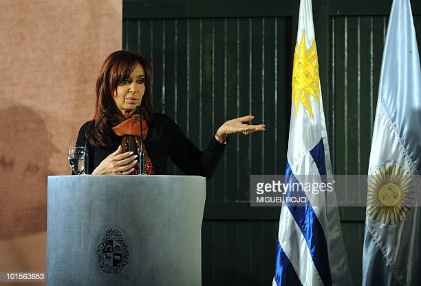 Argentinian President Cristina Fernandez de Kirchner speaks during a press conference after a meeting with her Uruguayan counterpart Jose Mujica at...