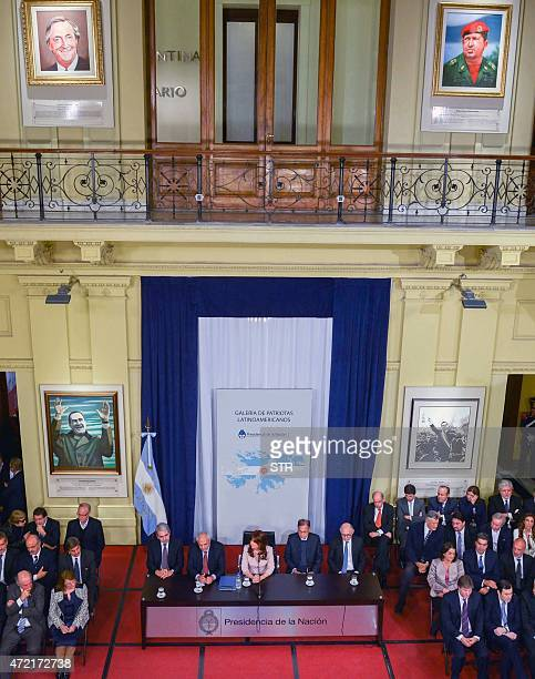 Argentinian President Cristina Fernandez de Kirchner takes part in the unveiling ceremony of the portraits of former Argentinian President Nestor...