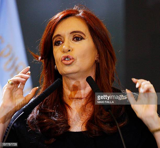Argentinian President Cristina Kirchner speaks during a ceremony at the presidential house on January 25 2012 in Buenos Aires on her her first public...