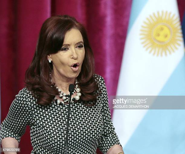 Argentinian President Cristina Kirchner speaks during a joint press conference with the French president at the presidential Elysee Palace in Paris...