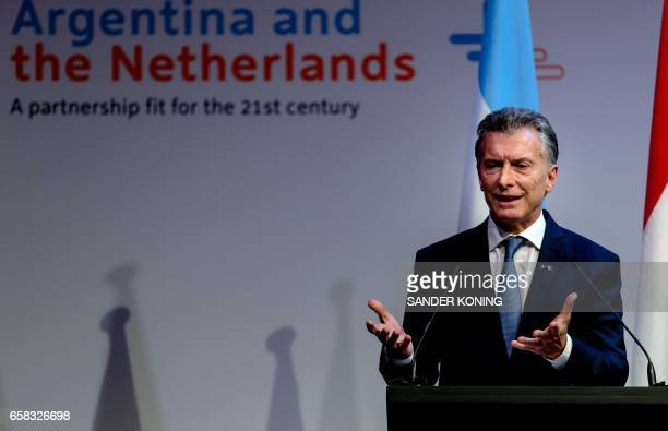 Argentinian President Mauricio Macri gives a speech at the Business Forum a platform to improve economic relations between Argentina and the...