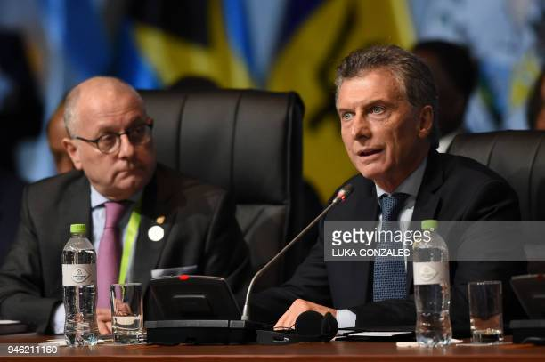 Argentinian President Mauricio Macri speaks during the plenary session of the Eighth Americas Summit in Lima on April 14 2018 US strikes on Syria...
